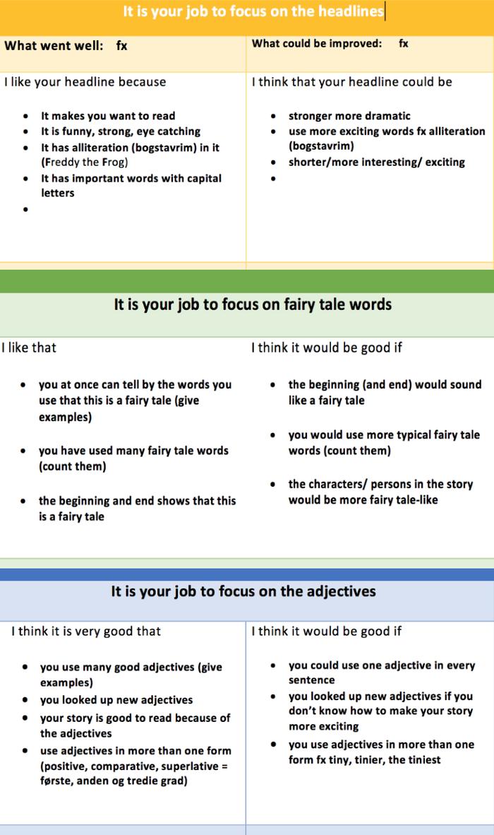 Fokuseret feedback i fremmedsprog
