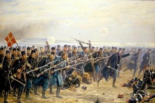 """Vilhelm Rosenstands maleri """"Episode af ottende brigardes modangreb ved Dybbøl 18. april 1864"""""""
