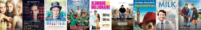 Filmplakater: You & me forever, The imitation game, Steppeulven, Sommeren '92, Slumdog millionaire, Sicko, Paddington, Milk, MGP missionen